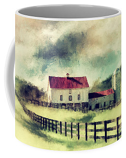 Coffee Mug featuring the digital art Vintage Red Roof Barn by Lois Bryan