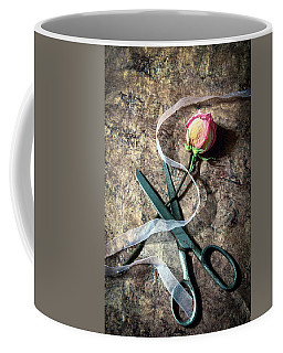Vintage Scissors, Dried Pink Rose And Ribbon Coffee Mug