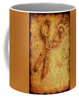 Vintage Scissors On Textured Book Cover Paper Coffee Mug
