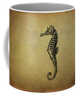 Vintage Seahorse Illustration Coffee Mug by Peggy Collins