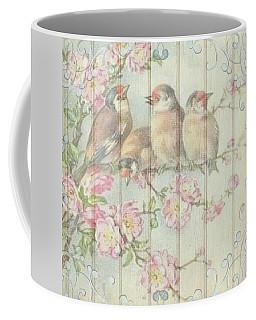 Vintage Shabby Chic Floral Faded Birds Design Coffee Mug