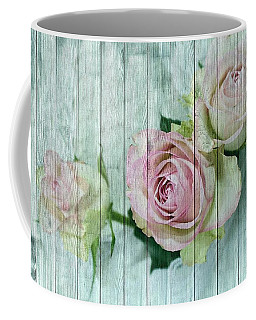 Vintage Shabby Chic Pink Roses On Wood Coffee Mug