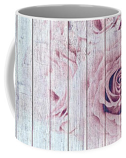 Vintage Shabby Chic Dusky Pink Roses On Blue Wood Effect Background Coffee Mug