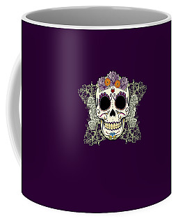 Vintage Sugar Skull And Flowers Coffee Mug by Tammy Wetzel