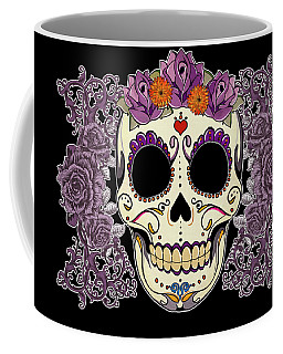 Vintage Sugar Skull And Roses Coffee Mug