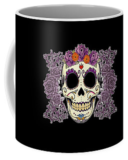 Vintage Sugar Skull And Roses Coffee Mug by Tammy Wetzel