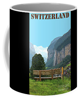Vintage Switzerland Alps And Waterfall Coffee Mug