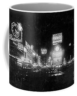 Vintage Times Square At Night Black And White Coffee Mug by John Stephens