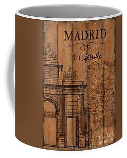 Coffee Mug featuring the painting Vintage Travel Madrid by Debbie DeWitt