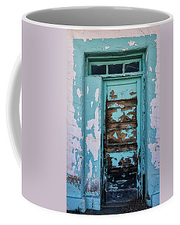 Coffee Mug featuring the photograph Vintage Turquoise Door  by Saija Lehtonen