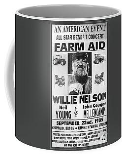 Vintage Willie Nelson 1985 Farm Aid Poster Grayscale Coffee Mug