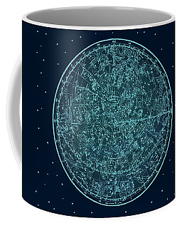 Vintage Zodiac Map - Teal Blue Coffee Mug