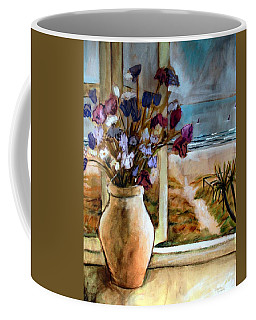 Coffee Mug featuring the painting Violet Beach Flowers by Winsome Gunning