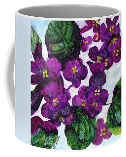 Coffee Mug featuring the painting Violets by Julie Maas