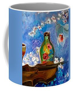 Coffee Mug featuring the painting Violin And Orchids by Jenny Lee