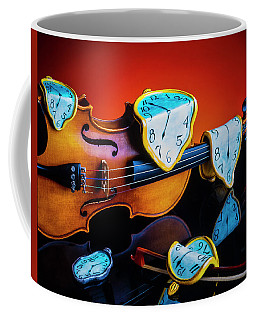Violin With Melted Watches Coffee Mug