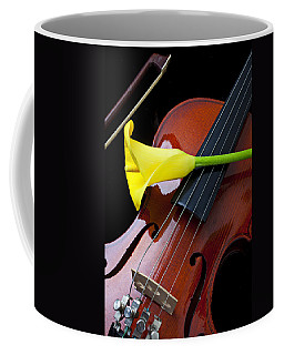 Violin With Yellow Calla Lily Coffee Mug