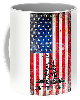 Viper On American Flag On Old Wood Planks Vertical Coffee Mug by M L C