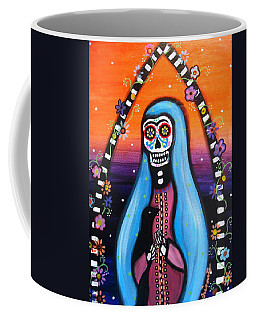 Coffee Mug featuring the painting Virgen Guadalupe Muertos by Pristine Cartera Turkus