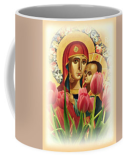 Virgin Mary And Tulips      Coffee Mug by Sarah Loft