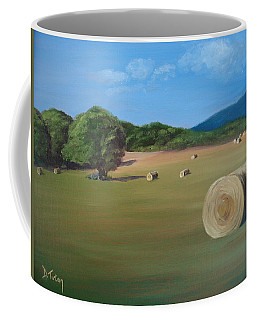 Coffee Mug featuring the painting Virginia Hay Bales by Donna Tuten