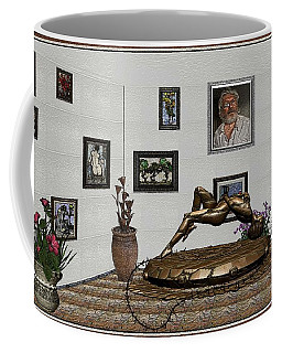 Coffee Mug featuring the mixed media Virtual Exhibition -statue Of Girl by Pemaro