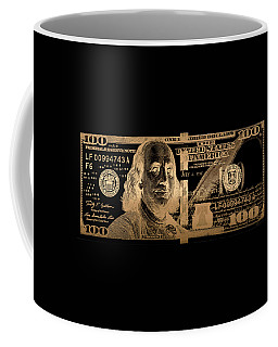 One Hundred Us Dollar Bill - $100 Usd In Gold On Black Coffee Mug