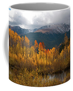 Coffee Mug featuring the photograph Vivid Autumn Aspen And Mountain Landscape by Cascade Colors