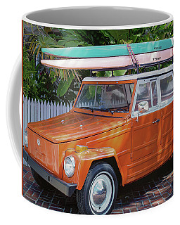 Coffee Mug featuring the photograph Volkswagen And Surfboards by Robert Bellomy
