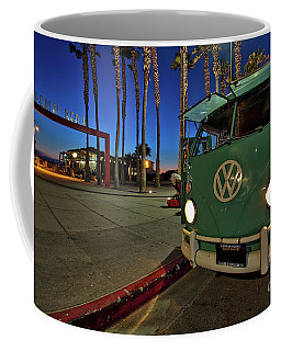 Volkswagen Bus At The Imperial Beach Pier Coffee Mug