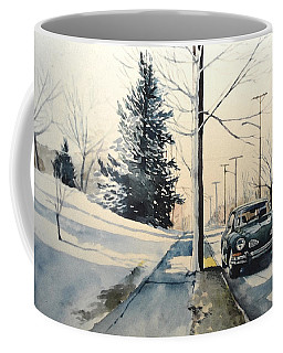 Volkswagen Karmann Ghia On Snowy Road Coffee Mug