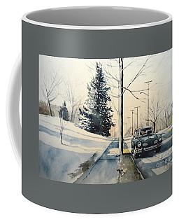 Volkswagen Karmann Ghia On Snowy Road Coffee Mug