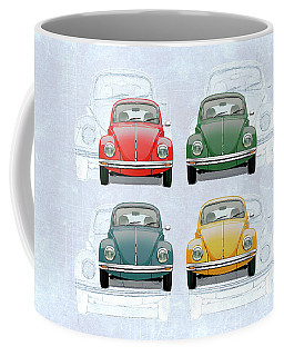 Volkswagen Type 1 - Variety Of Volkswagen Beetle On Vintage Background Coffee Mug
