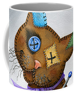 Coffee Mug featuring the painting Voodoo Cat Doll - Patchwork Cat by Carrie Hawks