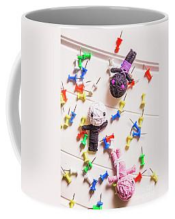 Voodoo Dolls Surrounded By Colorful Thumbtacks Coffee Mug
