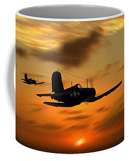 Coffee Mug featuring the digital art Vought Corsairs At Sunset by John Wills