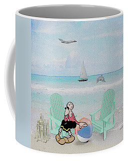 Coffee Mug featuring the digital art Waiting For Popeye by Ericamaxine Price