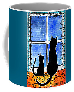 Coffee Mug featuring the painting Waiting For Spring - Black Cat Card by Dora Hathazi Mendes