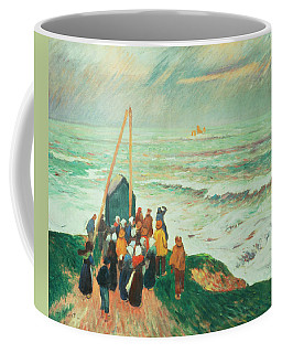 Waiting For The Return Of The Fishermen In Brittany Coffee Mug