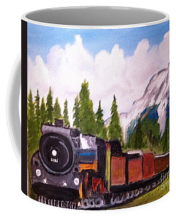 Waiting On A Siding In The Rockies Coffee Mug by Rod Jellison