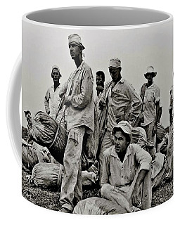 Coffee Mug featuring the digital art Waiting To Weigh Cotton Ramsey Prison Farm Huntsville Texas 1968 by Danny Lyon
