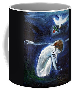 Coffee Mug featuring the painting Waiting by Winsome Gunning