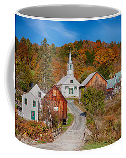 Coffee Mug featuring the photograph Waits River Church In Autumn by Jeff Folger
