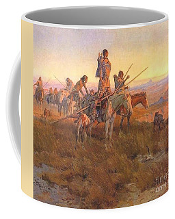 Coffee Mug featuring the painting Wake Of The Buffalo Runners by Pg Reproductions