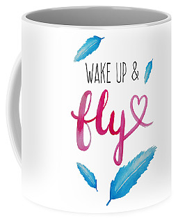 Wake Up And Fly Watercolor Coffee Mug