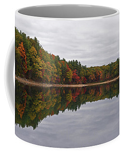 Walden Pond Fall Foliage Concord Ma Reflection Trees Coffee Mug