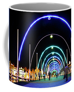 Coffee Mug featuring the photograph Walk Along The Floating Bridge, Willemstad, Curacao by Kurt Van Wagner