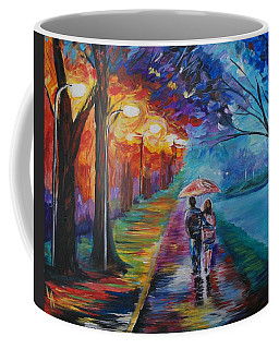 Coffee Mug featuring the painting Walk By The Lake Series 1 by Leslie Allen