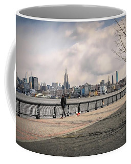 Walking Along Hoboken's Hudson River Waterfront Walkway Coffee Mug