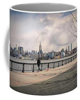 Walking Along Hoboken's Hudson River Waterfront Walkway Coffee Mug